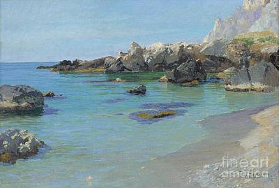 Shoreline Painting - On The Capri Coast by Paul von Spaun