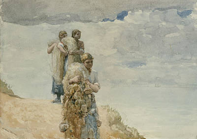 Painting - On The Cliff Cullercoats by Winslow Homer