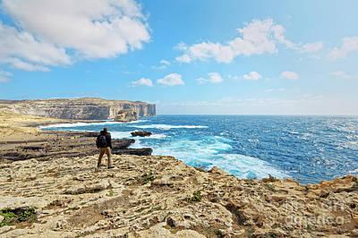 Observer Photograph - On The Cliff Of Dwejra Bay In Gozo, Malta by Arkanto