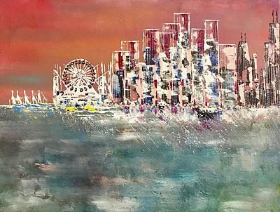 Painting - On The Curve Navy Pier Chicago by George Riney