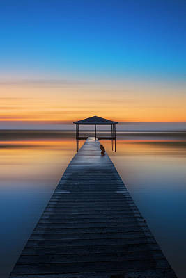 Photograph - On The Dock At Dawn by Debra and Dave Vanderlaan