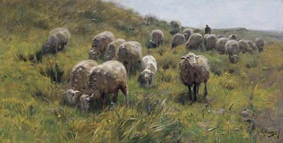 Dutch Shepherd Painting - On The Dunes by Anton Mauve