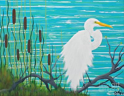 Painting - On The Edge Egret by JoNeL Art