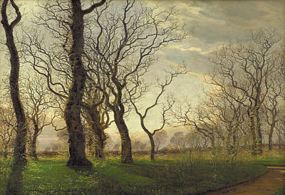 Painting - On The Edge Of An Oak Forest, An Early Spring Morning by Janus la Cour