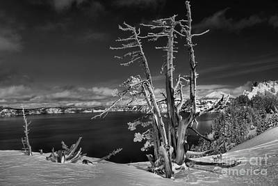 Photograph - On The Edge Of Crater - Black And White by Adam Jewell
