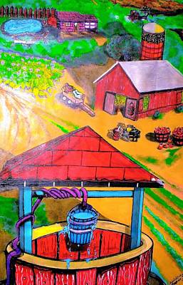 Wagon In A Barn Painting - On The Farm by Anita Williams