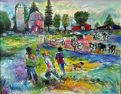 Painting - On The Farm by Mykul Anjelo
