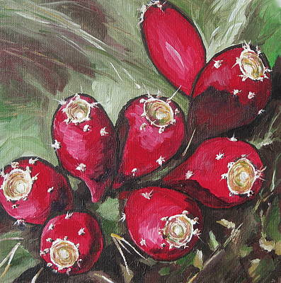 Prickly Pear Painting - On The Fence by Sandy Tracey