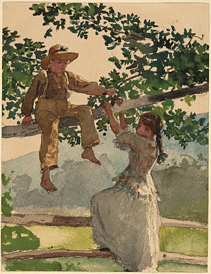 Winslow Homer Painting - On The Fence by Winslow Homer