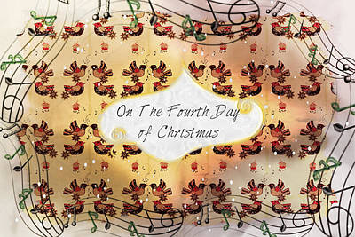 Drawing - On The Fourth Day Of Christmas by Sherry Flaker