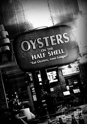 Louisiana Seafood Photograph - On The Half Shell - Bw by Scott Pellegrin
