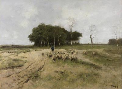 Dutch Shepherd Painting - On The Heath Near Laren by Anton Mauve