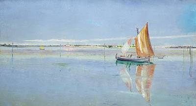 Sailboat Ocean Painting - On The Lagoon by John William Inchbold