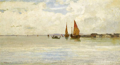Vincenzo Cabianca Painting - On The Lagoon. Venice by Vincenzo Cabianca