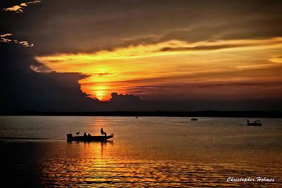On The Lake At Sunset Art Print