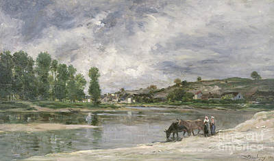 Woman On The River Painting - On The Loire, 1874 by Charles Francois Daubigny