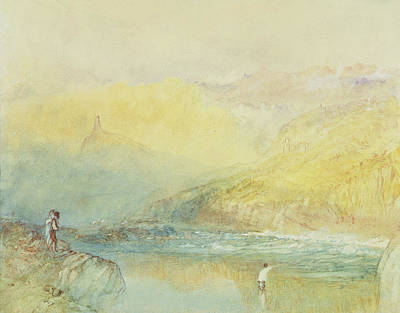 German Drawing - On The Mosell, Near Traben Trarabach by Joseph Mallord William Turner