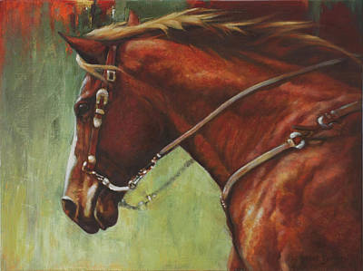 Western Bridle Painting - On The Move by Harvie Brown