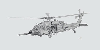 Helicopter Drawing - On The Move by Nicholas Linehan