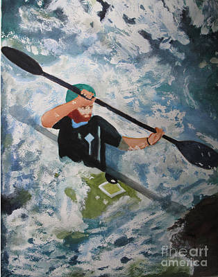 White Water Rafting Painting - On The New by Sandy McIntire