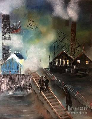 Art Print featuring the painting On The Pennsylvania Tracks by Denise Tomasura
