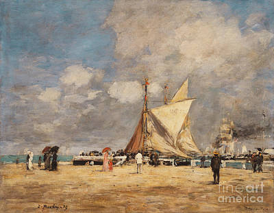 People On Beach Wall Art - Painting - On The Pier, Deauville, 1889  by Eugene Louis Boudin