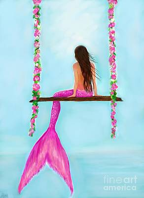 Painting - On The Pink Swing by Leslie Allen