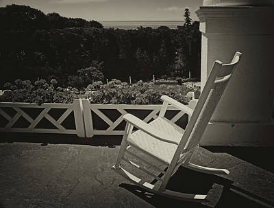 Photograph - On The Porch At The Grand Hotel 5 Sepia by Mary Bedy