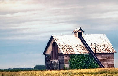 On The Prairie - Illinois Corncrib Barn Art Print by Chrystyne Novack