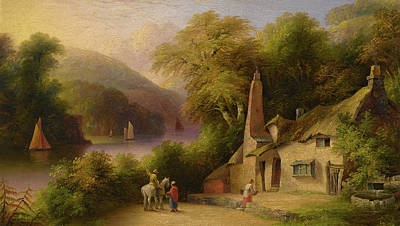 On The River Dart Between Totnes And Dartmouth Art Print by John Wallace Tucker