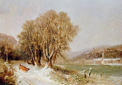Winter Scenes Painting - On The River Neckar Near Heidelberg by Joseph Paul Pettit