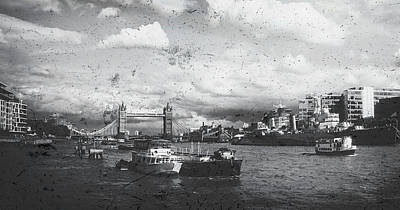 Mixed Media - The River Thames In Mono by Andrew David