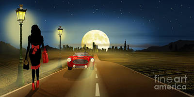 Oldtimer Mixed Media - On The Road In The Night by Monika Juengling