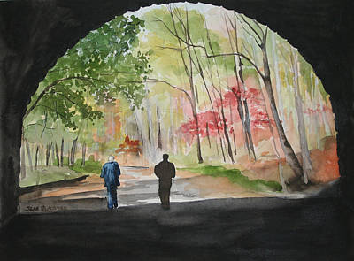 Smokey Mountains Painting - On The Road To Nowhere by Jean Blackmer