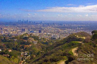 Los Angeles Skyline Photograph - On The Road To Oz La Skyline Runyon Canyon Hiking Trail by David Zanzinger