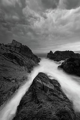 On The Rocks - B/w Art Print by Michael Blanchette