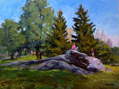 On The Rocks In Central Park Art Print by Peter Salwen
