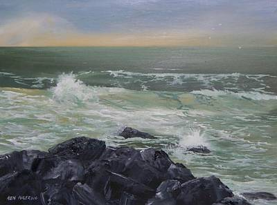 Art Print featuring the painting On The Rocks by Ken Ahlering