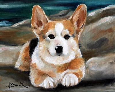 Canine Painting - On The Rocks by Mary Sparrow