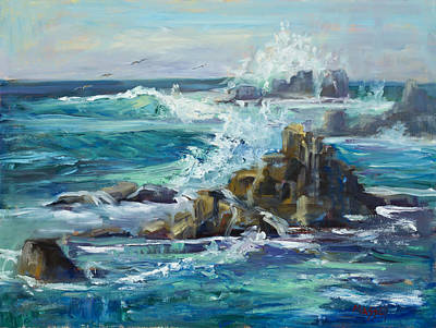 Pacific Grove Painting - On The Rocks, Plein Air by Marie Massey