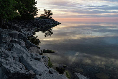 Photograph - On The Rocks - Silky Colorful Lakeside Morning by Georgia Mizuleva