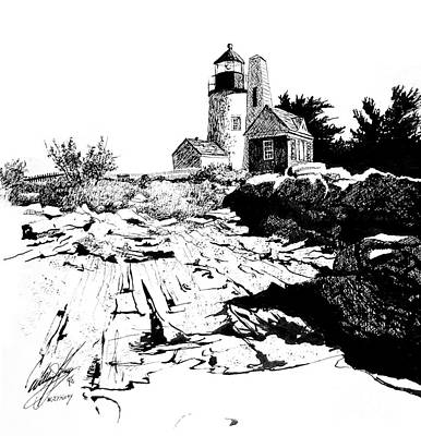 Lighthouse Drawing - On The Rocks by William Kelsey