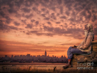 City Sunset Digital Art - on the roof of the world NYC by Artur Pirant