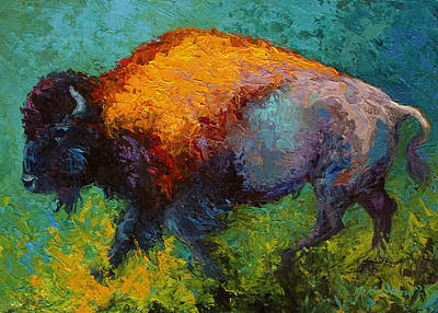 Prairie Painting - On The Run - Bison by Marion Rose