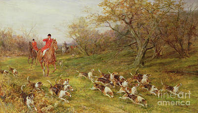 Fox Painting - On The Scent by Heywood Hardy