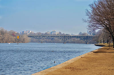 Rowing Crew Digital Art - On The Schuylkill River - Strawberry Mansion Bridge by Bill Cannon