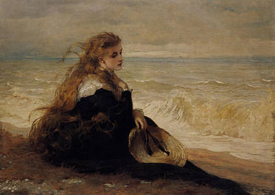 Important Digital Art - On The Seashore by George Elgar Hicks