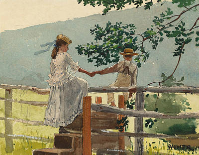 Painting - On The Stile by Winslow Homer