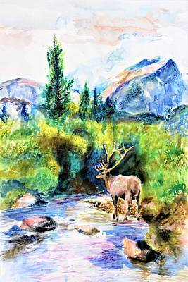 Mixed Media - On The Stream by Khalid Saeed