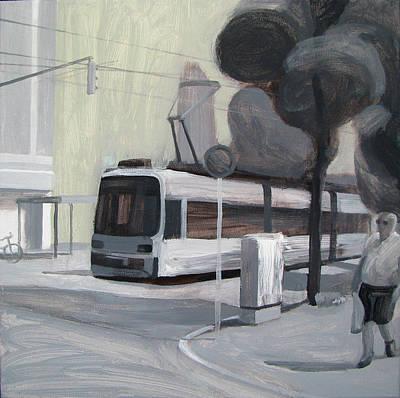 Painting - Tram On A City Street by Lena Krasotina